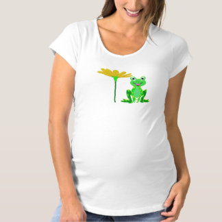 small frog and yellow flower maternity T-Shirt
