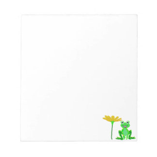 small frog and yellow flower notepad