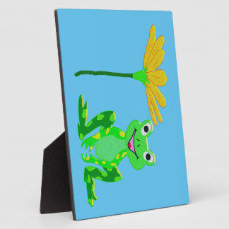 small frog and yellow flower plaque