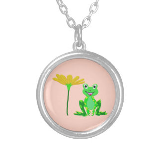 small frog and yellow flower silver plated necklace