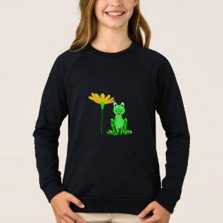 small frog and yellow flower sweatshirt