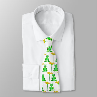 small frog and yellow flower tie