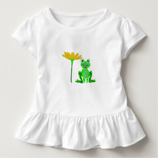 small frog and yellow flower toddler t-shirt