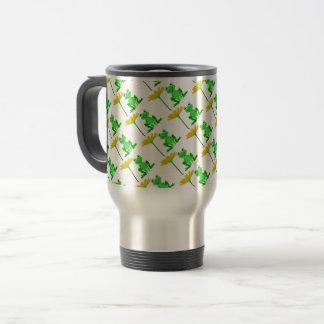 small frog and yellow flower travel mug
