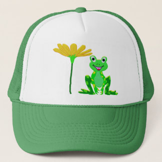 small frog and yellow flower trucker hat
