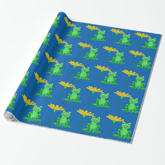 small frog and yellow flower wrapping paper