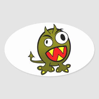 Small Funny Angry Green Monster Oval Sticker