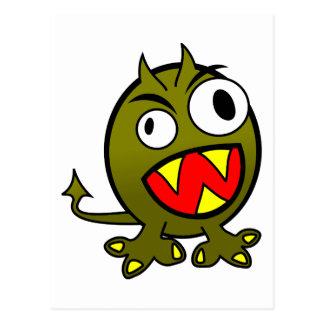 Small Funny Angry Green Monster Postcard