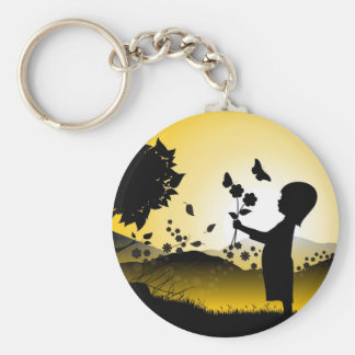 Small Girl Picking Flowers Illustration Basic Round Button Keychain