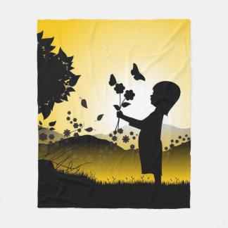 Small Girl Picking Flowers Illustration Fleece Blanket