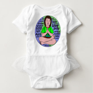 Small girl praying and meditating,sitting on earth baby bodysuit