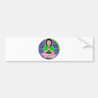 Small girl praying and meditating,sitting on earth bumper sticker