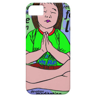 Small girl praying and meditating,sitting on earth case for the iPhone 5