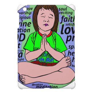 Small girl praying and meditating,sitting on earth cover for the iPad mini