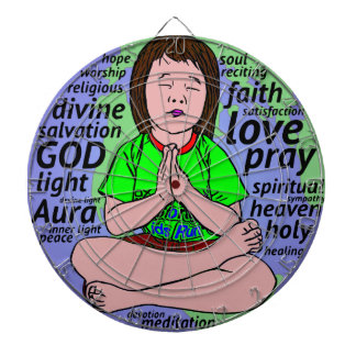 Small girl praying and meditating,sitting on earth dartboard