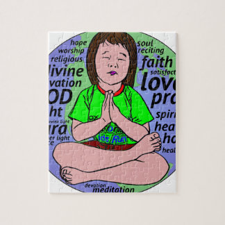 Small girl praying and meditating,sitting on earth jigsaw puzzle