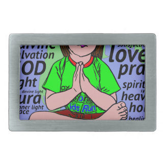 Small girl praying and meditating,sitting on earth rectangular belt buckle