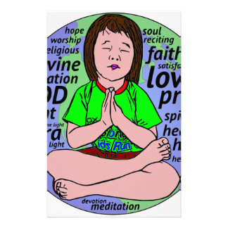 Small girl praying and meditating,sitting on earth stationery