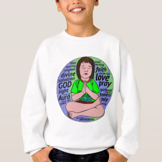 Small girl praying and meditating,sitting on earth sweatshirt