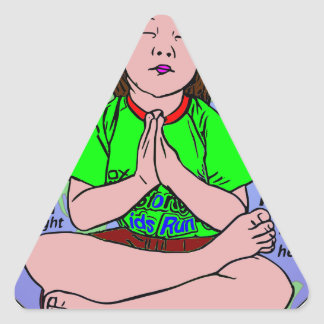 Small girl praying and meditating,sitting on earth triangle sticker