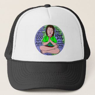 Small girl praying and meditating,sitting on earth trucker hat