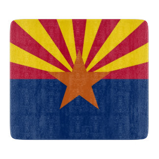 Small glass cutting board with flag of Arizona