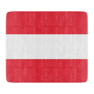 Small glass cutting board with flag of Austria