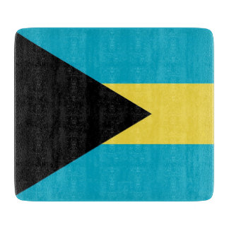Small glass cutting board with flag of Bahamas