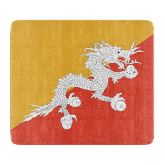 Small glass cutting board with flag of Bhutan