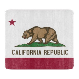 Small glass cutting board with flag of California