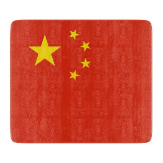 Small glass cutting board with flag of China