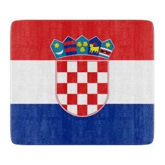Small glass cutting board with flag of Croatia