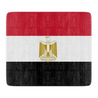 Small glass cutting board with flag of Egypt