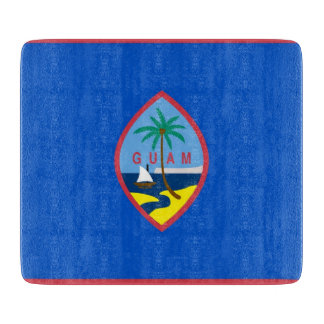 Small glass cutting board with flag of Guam