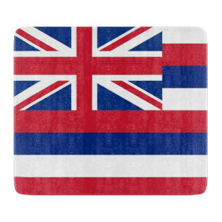 Small glass cutting board with flag of Hawaii