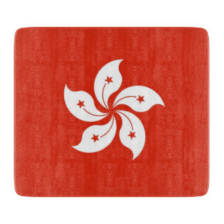 Small glass cutting board with flag of Hong Kong