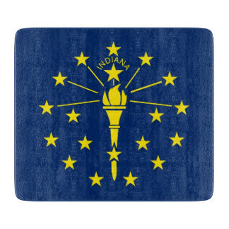 Small glass cutting board with flag of Indiana
