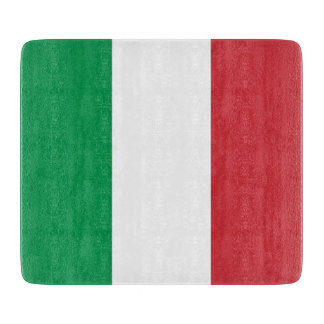 Small glass cutting board with flag of Italy