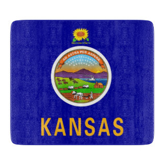 Small glass cutting board with flag of Kansas