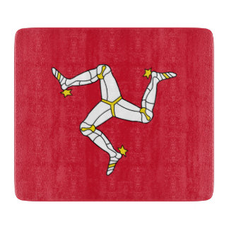 Small glass cutting board with Isle of Man flag