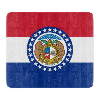 Small glass cutting board with Missouri flag