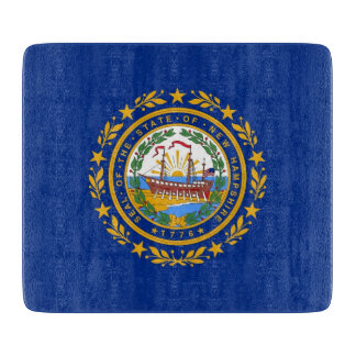 Small glass cutting board with New Hampshire flag