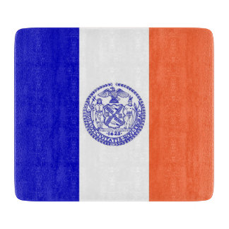 Small glass cutting board with New York City flag
