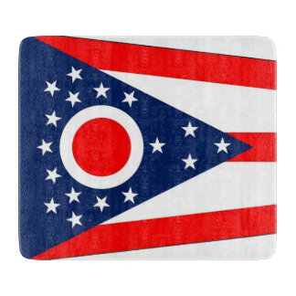 Small glass cutting board with Ohio flag