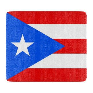 Small glass cutting board with Puerto Rico flag
