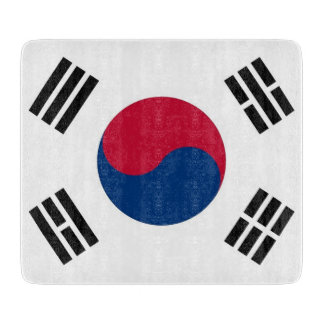 Small glass cutting board with South Korea flag