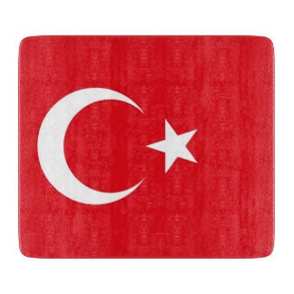 Small glass cutting board with Turkey flag
