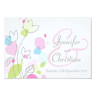 Small graphic modern flower petals wedding invite
