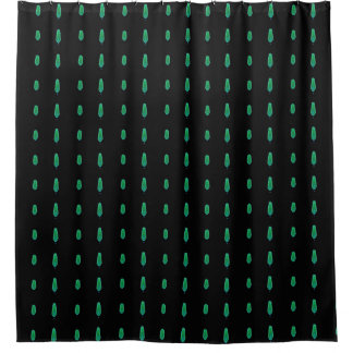 Small Green Flames on Black Shower Curtain