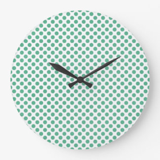 Small green polka dots on white background large clock